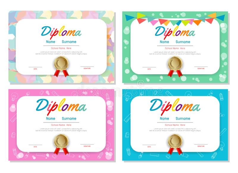 Set of Certificates kindergarten and elementary, Preschool Kids Diploma certificate pattern design template, Diploma template royalty free illustration