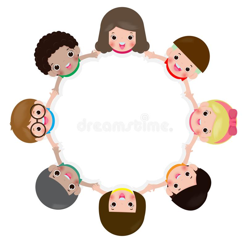 Children holding hands in a circle isolated on white background, Vector illustration in flat style. Children holding hands in a circle isolated on white royalty free illustration