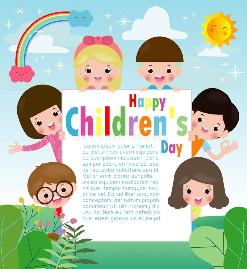 Happy children`s day background poster with happy kids holding sign, children peeping behind placard, vector illustration. Happy children`s day background vector illustration