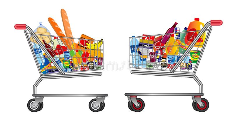 Set of  Shopping trolley full of food, fruit, products and grocery goods. royalty free illustration