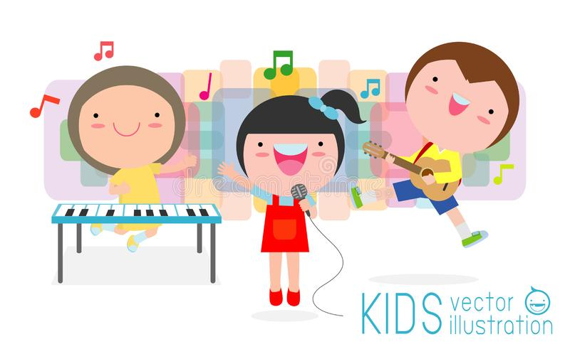 Cute kids and music, children playing musical instruments  vector illustration isolated on white background. Cute kids and music, children playing musical royalty free illustration