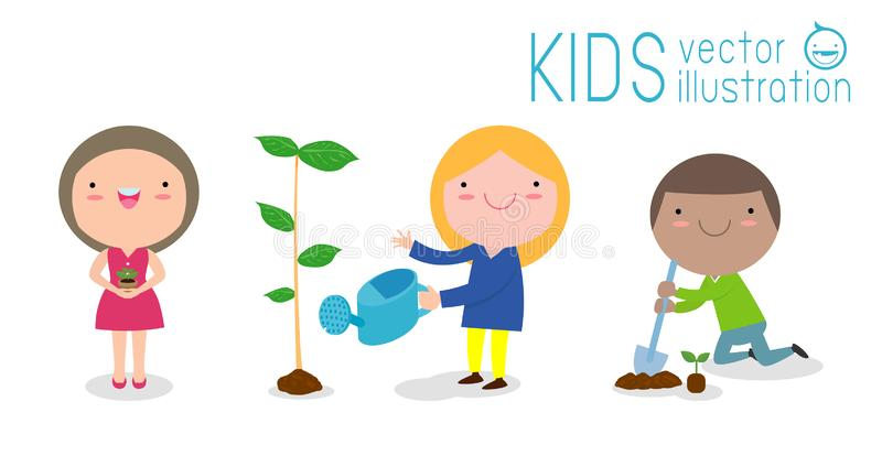 Vector Illustration Of Kids Planting in a park, children are plant trees, cute child volunteers, Save the World isolated stock illustration