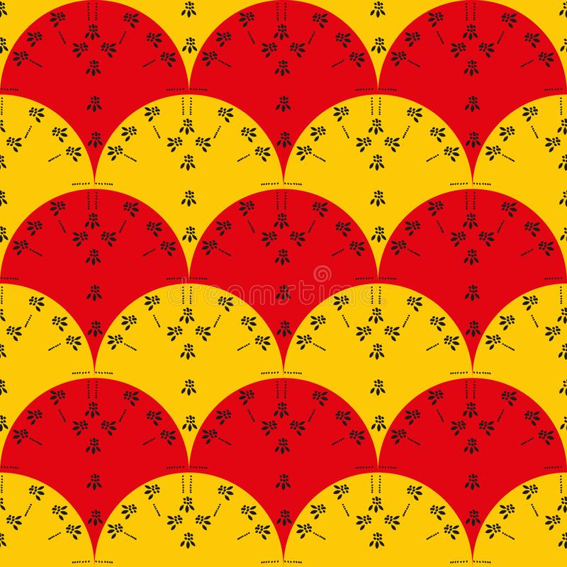 Seamless vector pattern with red and yellow fans with black floral print vector illustration