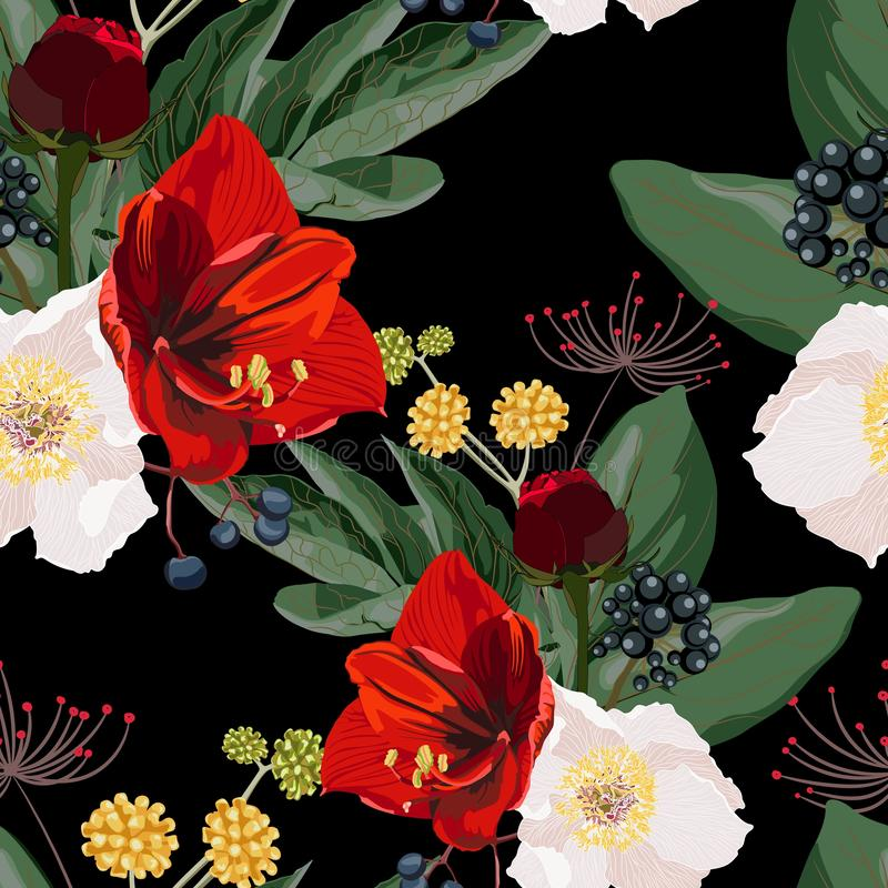 Seamless pattern with red lilies, white peony, berries and herbs, flowers and leaves on black background. royalty free illustration