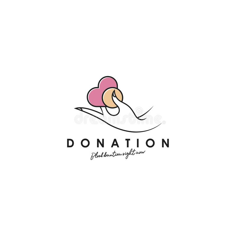 Donation logo design, template, vector. Holding hand giving donation. Female hand gestures donate logo template royalty free illustration