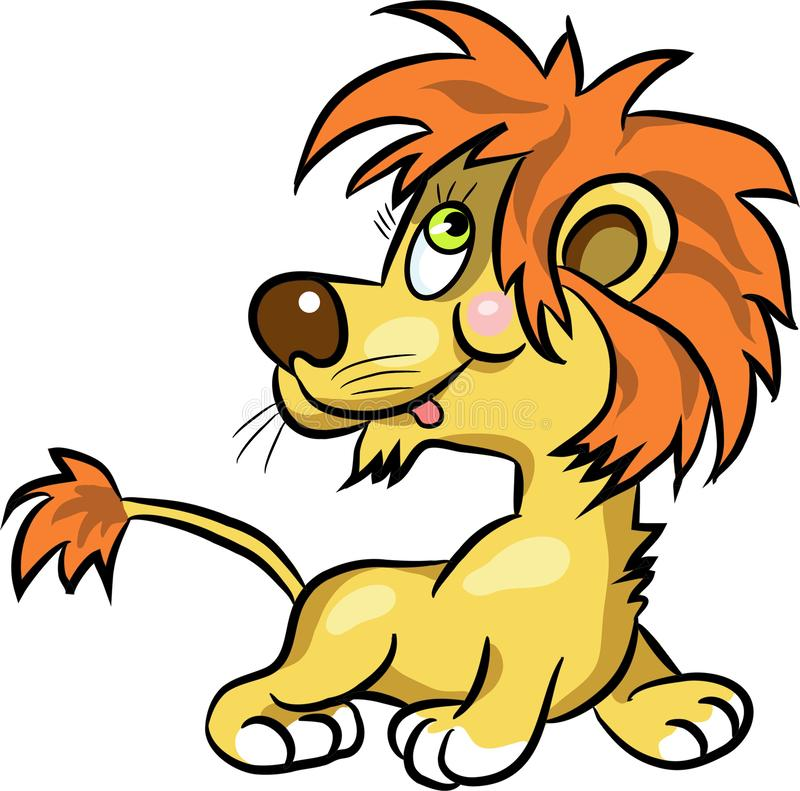 Colorful hand drawn illustration of cartoon young lion. stock illustration