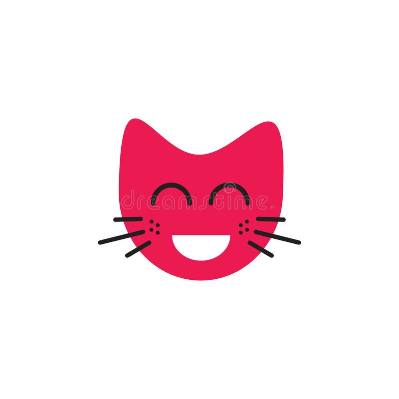 Laughing face cat emoticon logo concept royalty free illustration