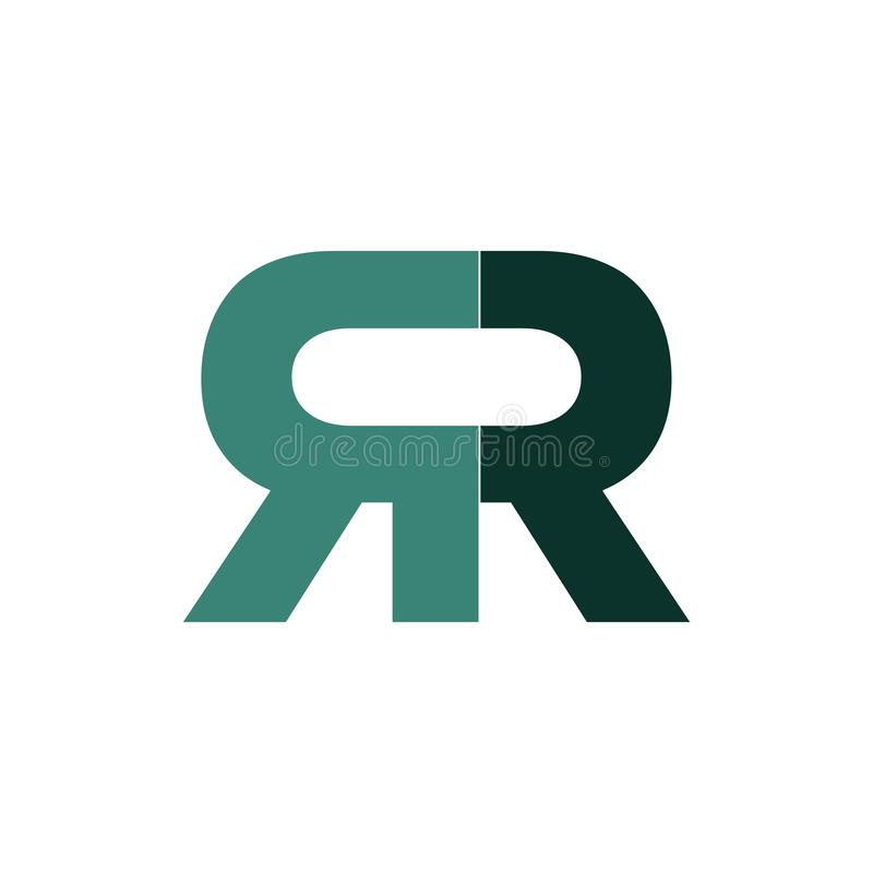 Green double r logo type royalty free illustration