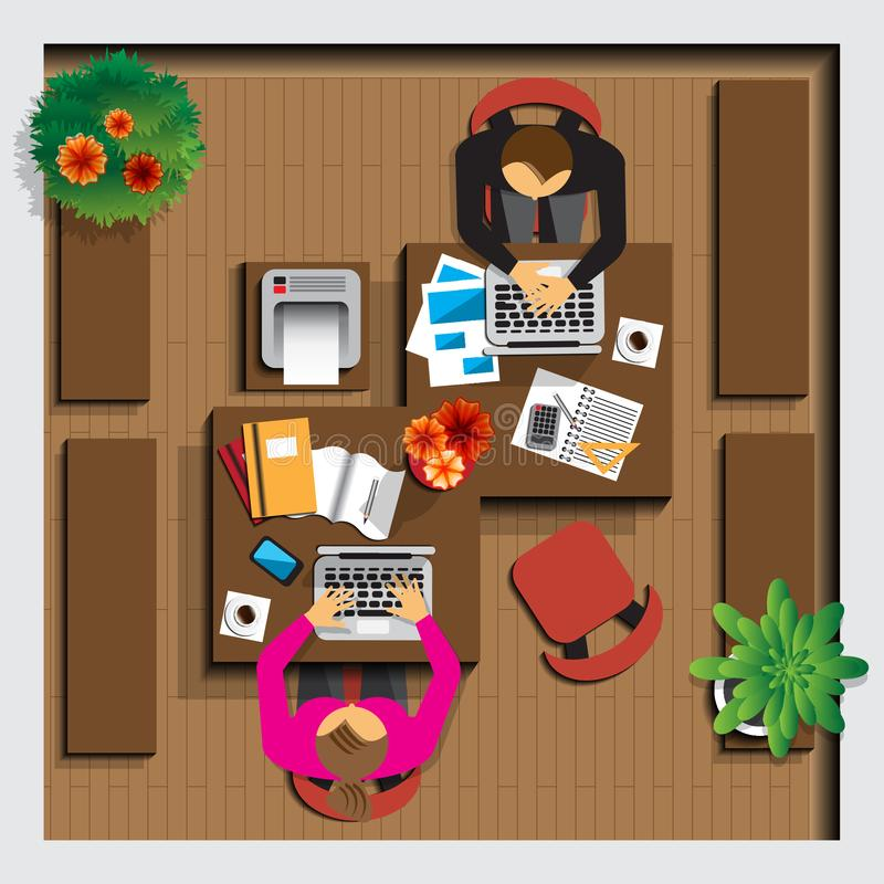 Working in the office. View from above. Vector illustration