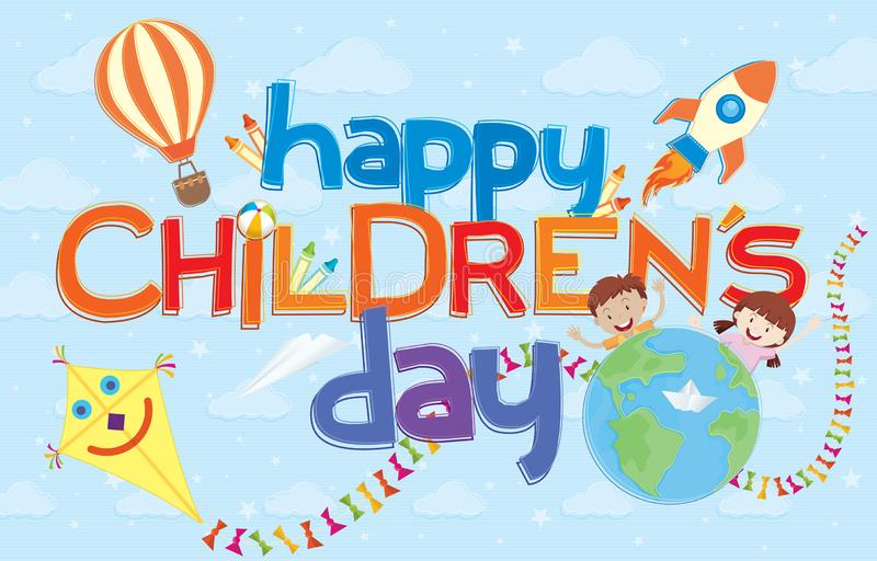 Happy Children`s Day greeting card. Colorful letters surrounded by aerostatic balloon, comet, rocket, crayons and two children stock illustration
