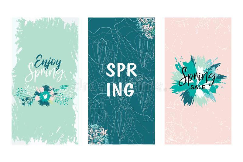 Colorful vector set of floral compositions with slogan. Beautiful wreath with floral, can be used as creating card. Invitation card for wedding, birthday and stock illustration