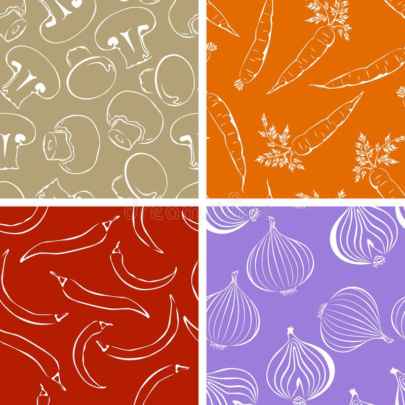 Set of Vegetables outline seamless pattern. Illustrations of mushrooms and onions, chili peppers and carrots. royalty free illustration