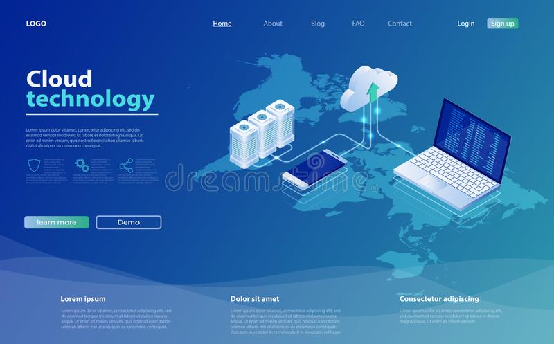 Concepts Cloud storage. Online computing technology. 3d servers and data center connection network. vector illustration