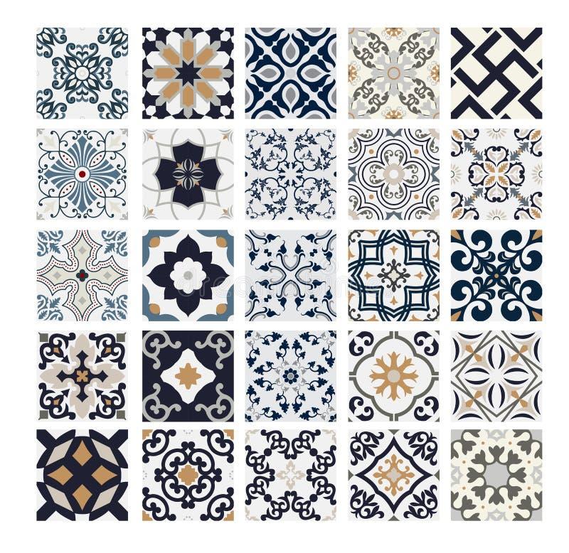 Tiles Portuguese patterns antique seamless design in Vector illustration vintage. Eps stock illustration