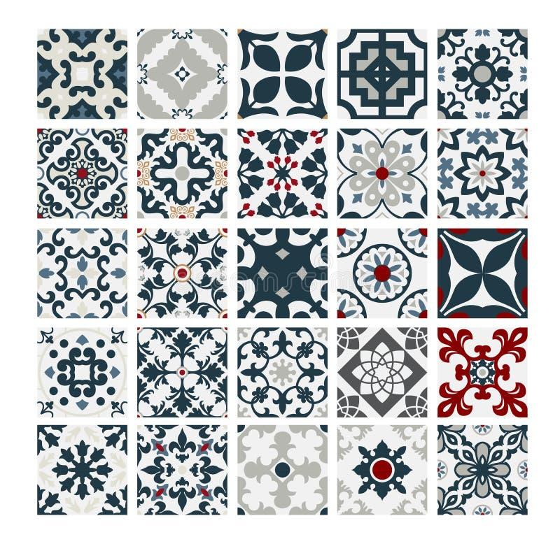 Tiles Portuguese patterns antique seamless design in Vector illustration vintage. Eps royalty free illustration