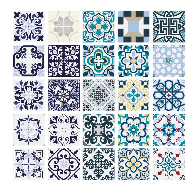 Tiles Portuguese patterns antique seamless design in Vector illustration vintage royalty free illustration