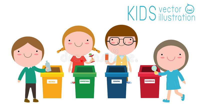Children collect rubbish for recycling, Kids Segregating Trash, recycling trash, Save the World, Boy and girl recycling isolated. On white backgrounds vector royalty free illustration