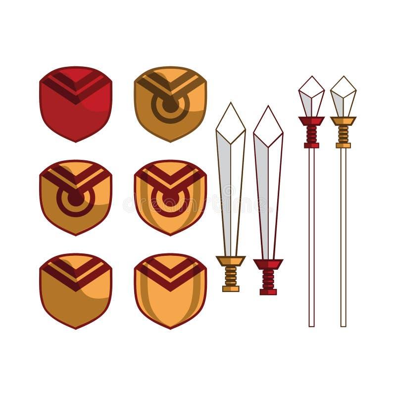 Shield and sword heraldic logo concept. Is bundles of original shield and sword icon illustrations or logo concept royalty free illustration