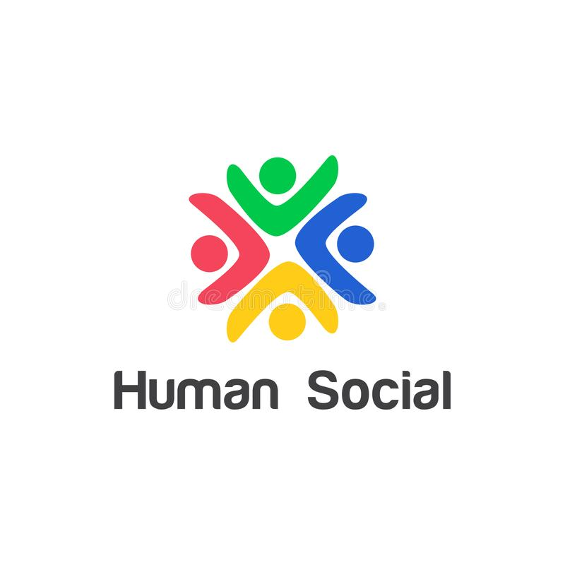 Human social, unity, together, connection, relation logo design template. Human social, unity, together, connection, relation logo design template for community stock illustration