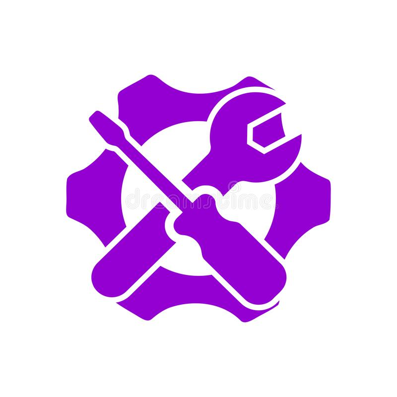 Spanner, repair, wrench, industry, screwdriver, gear, settings, equipment, service, maintenance, work tool icon. Work spanner repair hammer wrench industry royalty free illustration