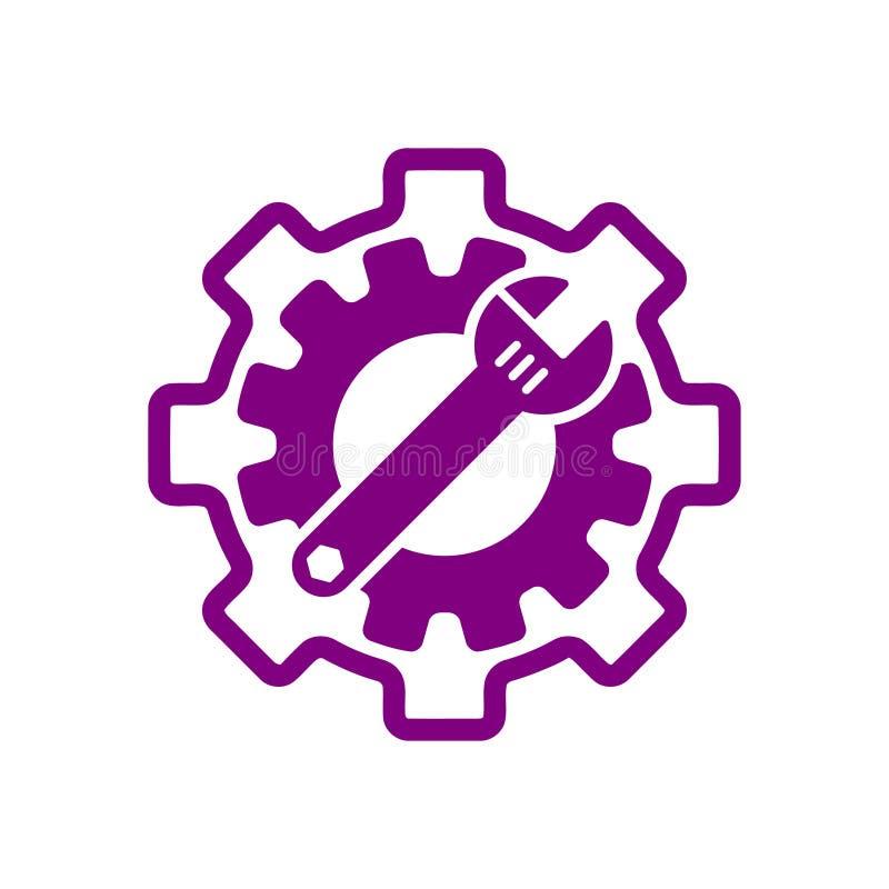 Spanner, repair, wrench, industry, screwdriver, gear, settings, equipment, service, maintenance, work tool icon. Work spanner repair hammer wrench industry stock illustration