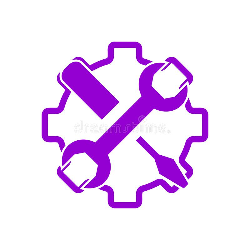 Spanner, repair, wrench, industry, screwdriver, gear, settings, equipment, service, maintenance, work tool icon. Work spanner repair hammer wrench industry vector illustration