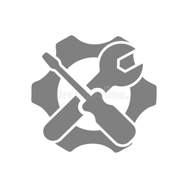Spanner, repair, wrench, industry, screwdriver, gear, settings, equipment, service, maintenance, work tool grey color icon. Work spanner repair hammer wrench royalty free illustration