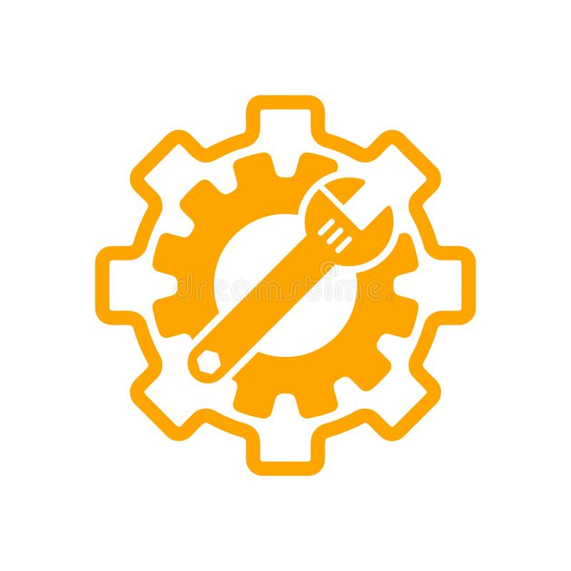 Spanner, repair, wrench, industry, screwdriver, gear, settings, equipment, service, maintenance, work tool grey color icon. Work spanner repair hammer wrench stock illustration