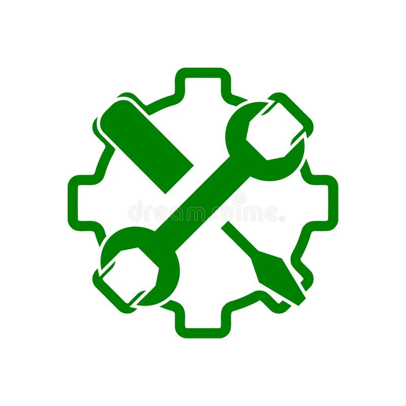 Spanner, repair, wrench, industry, screwdriver, gear, settings, equipment, service, maintenance, work tool green color icon. Work spanner repair hammer wrench royalty free illustration