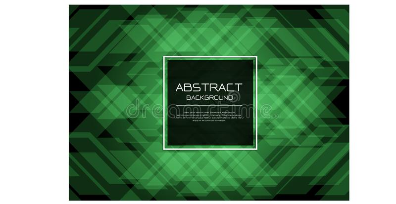 Abstract vector luxury green emerald pattern on black with square banner white frame template design modern background royalty free illustration
