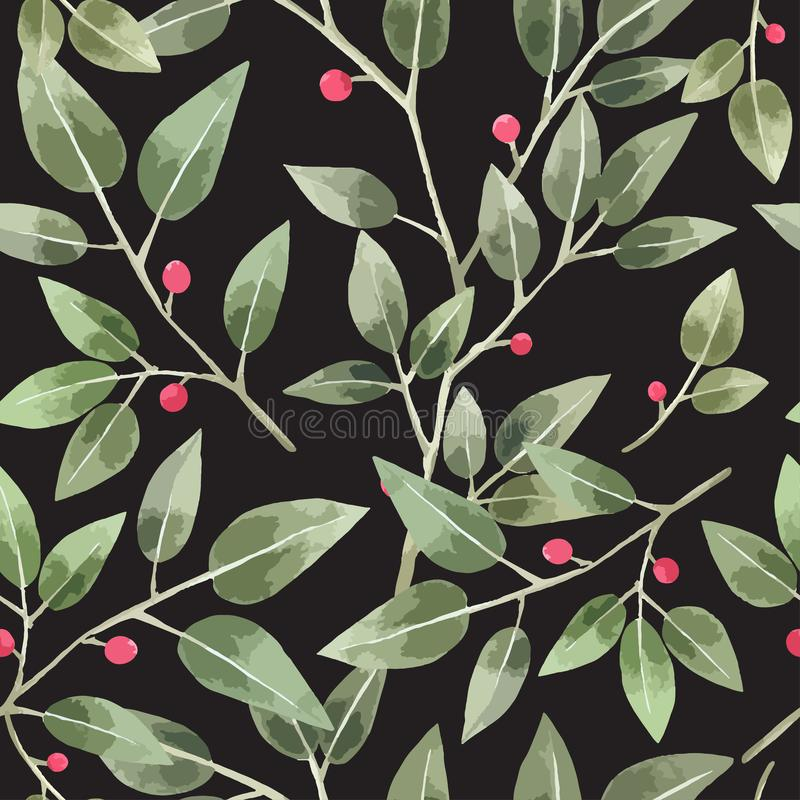 Green Leave Seamless Pattern in watercolor vector illustration