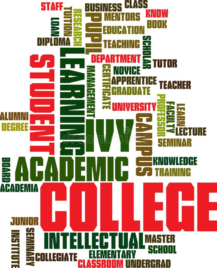 Word cloud education related. Academic related words including staff class business department pupil university learning degree collage royalty free illustration