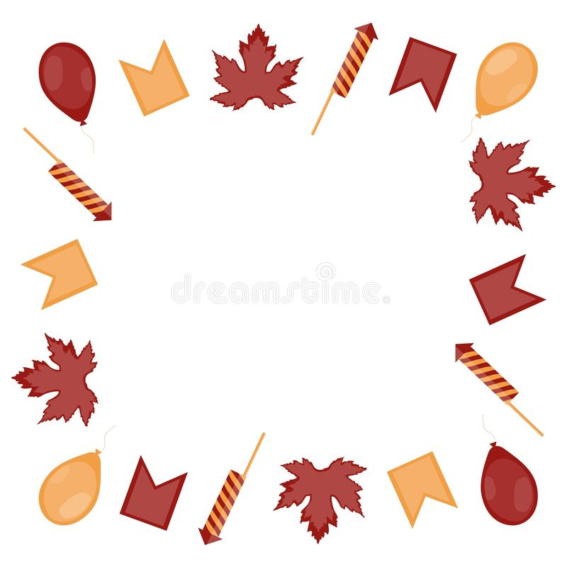 Canada Day. Square frame of red-yellow leaves of maple, balloons, firecrackers and flags on a white background. royalty free illustration