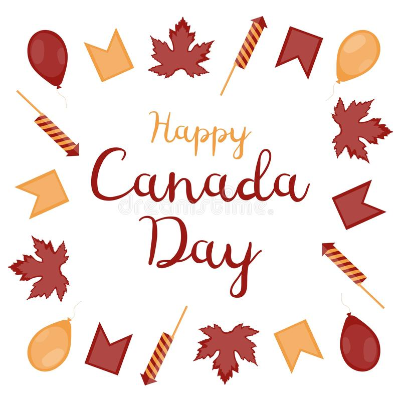 Happy Canada Day. Square banner. The inscription surrounded by maple leaves, balloons, flags and firecrackers on a white backgroun royalty free illustration