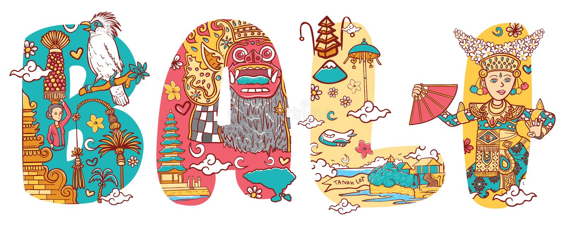 Culture of bali in custom font lettering illustration stock illustration