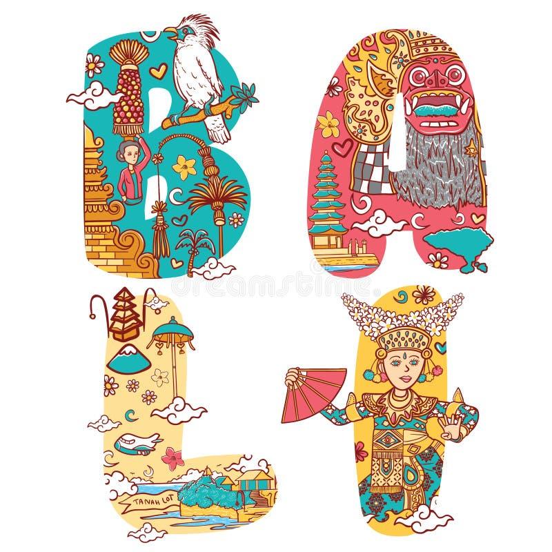 Culture of bali indonesia in custom font lettering illustration stock illustration