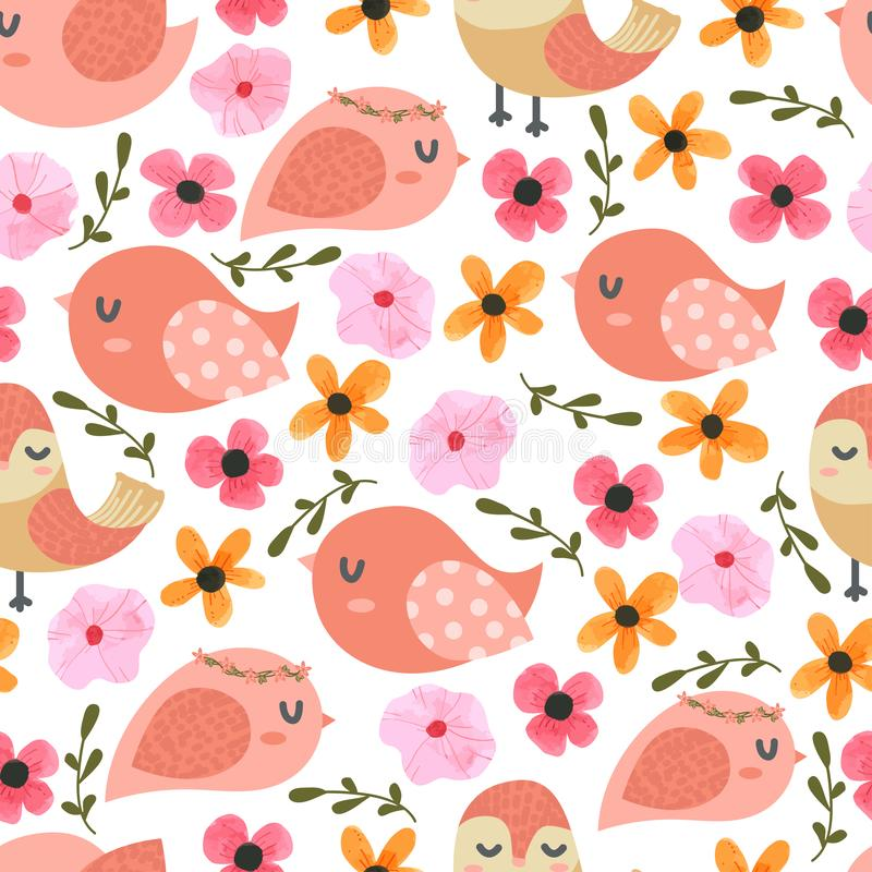 Birds and flower Cartoon Seamless Pattern. For kids royalty free stock photography