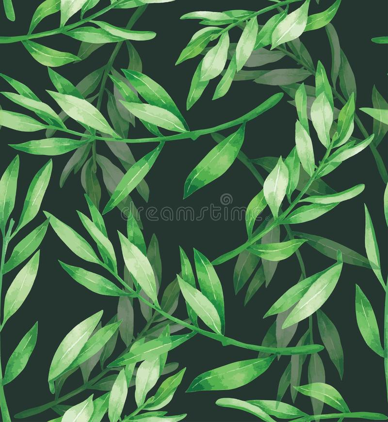Green Leave Seamless Pattern Hand drawn painted in watercolor. For textile royalty free illustration