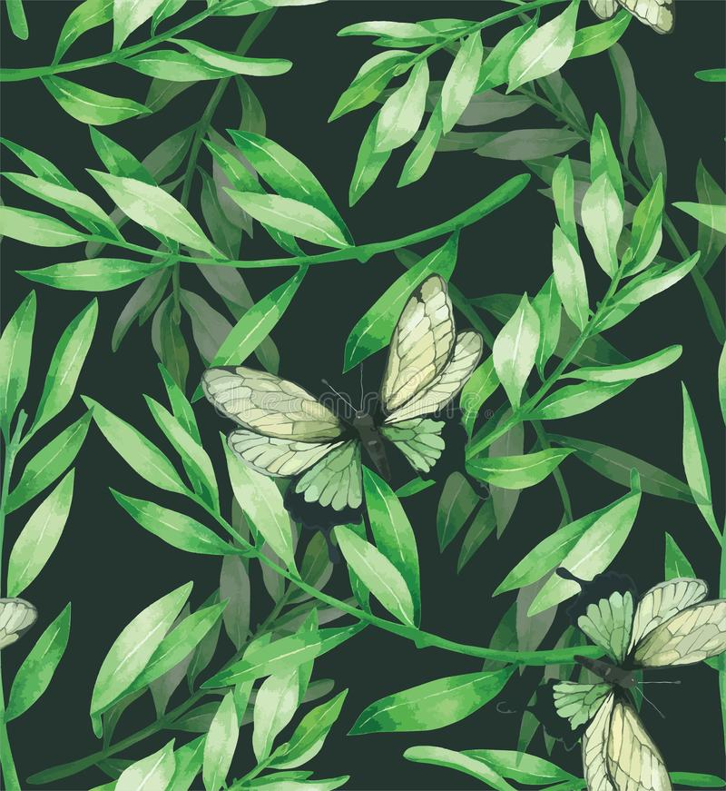 Green Leave Seamless Pattern Hand drawn painted in watercolor royalty free illustration