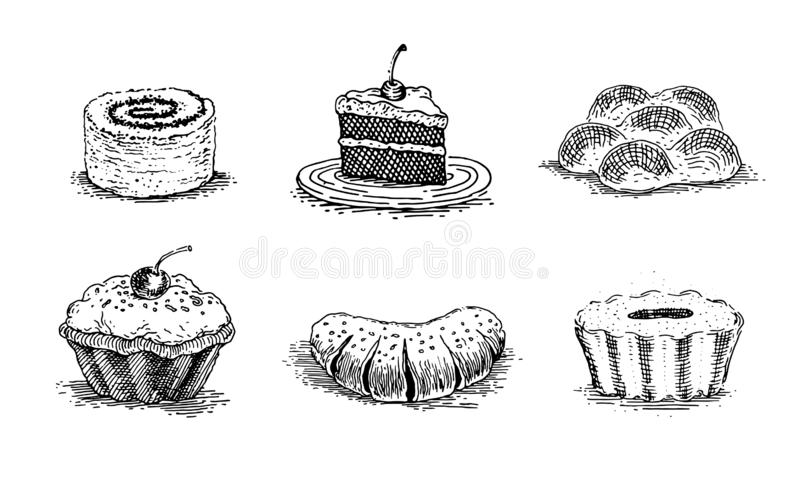 Pastries, cherry cake, vanilla buns, muffins, rolls with poppy seeds, bun with jam, a piece of cake on a saucer, vintage graphics. Vector set of images for royalty free illustration