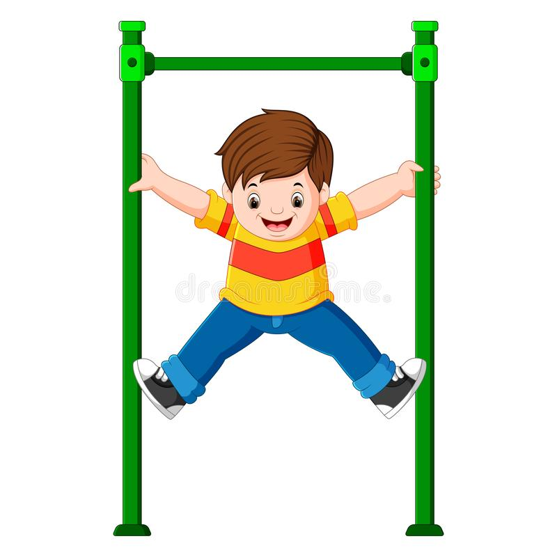 The boy is holding the monkey bar with his hands. Illustration of The boy is holding the monkey bar with his hands stock illustration