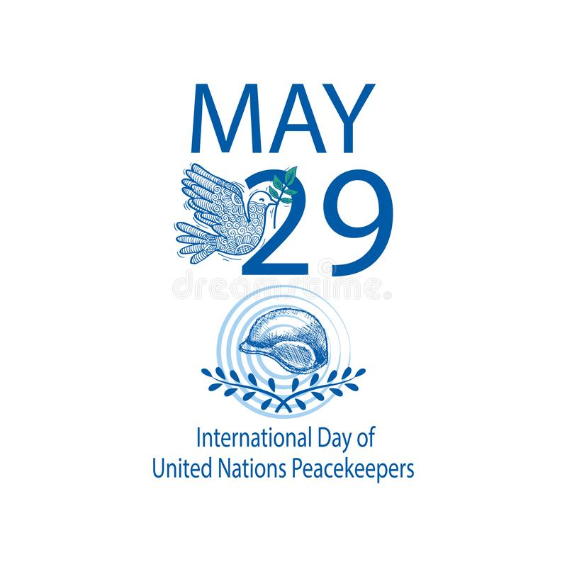 International Day of United Nations Peacekeepers royalty free illustration