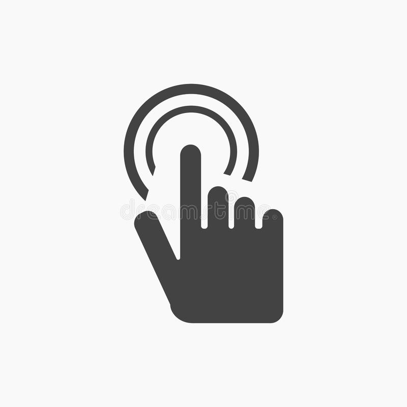 Finger touch screen Icon Vector. On white grey font stock illustration
