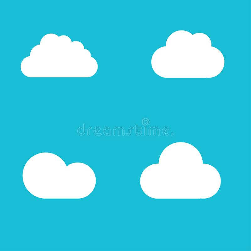 White cloud shapes icon on blue font vector illustration