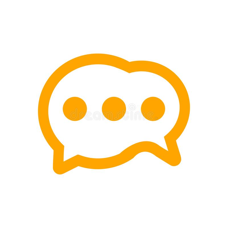Chat icon, sms icon, chat, bubble, comments icon, communication, talk icon, call, group sms, speech bubbles orange Icon stock illustration