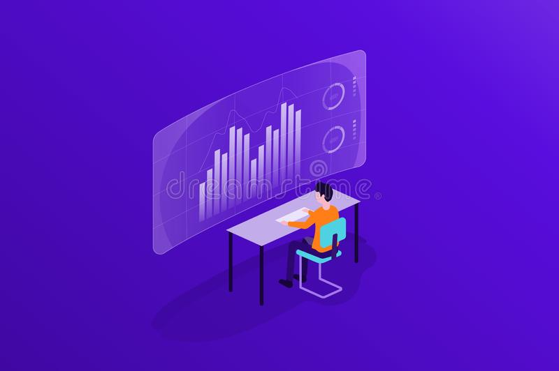 Business people working on monitor report dashboard and data analytics for finance investment vector illustration