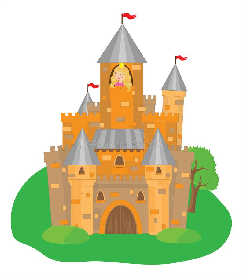 Beautiful historic castle and little princess on a white background. Illustration stock illustration