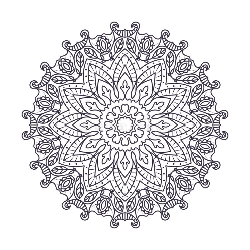 Complex mandala design pattern. Outline royalty free illustration