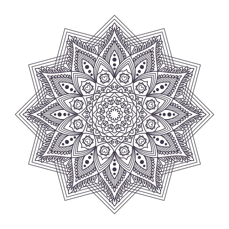 Intricate mandala pattern design. For adult coloring books vector illustration