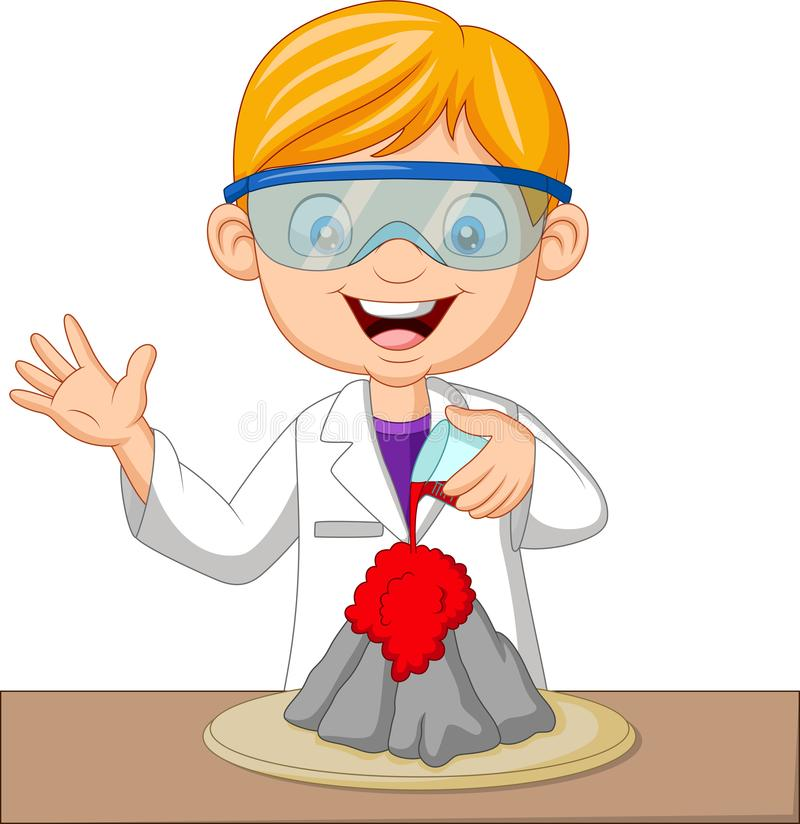 Cartoon boy scientist doing volcano experiment stock illustration